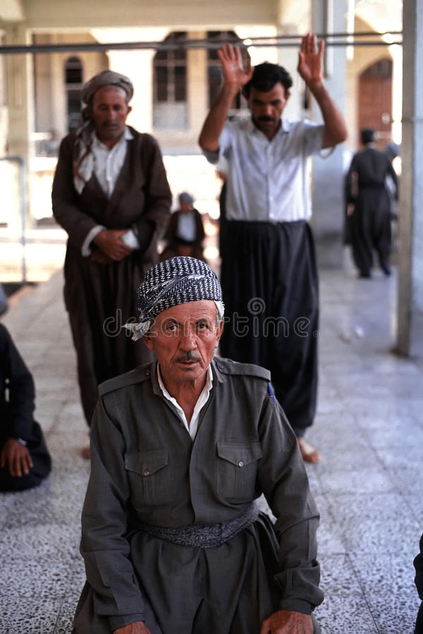 1993 North Iraq - Kurdistan. Dayly life inside the Hewler Citadel at Arbil - prayer at Jalil Khayat. mosque stock image