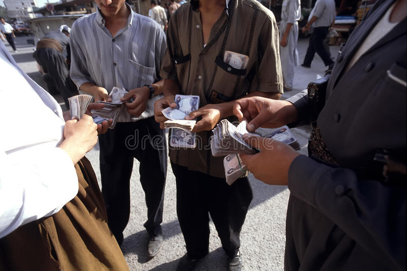 1993 North Iraq - Kurdistan. Money changer in Arbil royalty free stock images