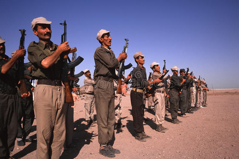1993 North Iraq - Kurdistan. Popular militia exercise stock image