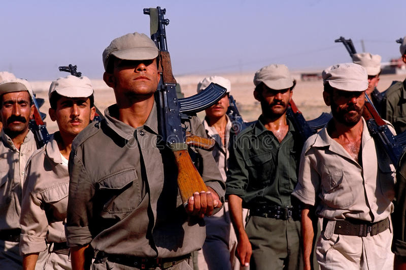 1993 North Iraq - Kurdistan. Popular militia exercise stock images