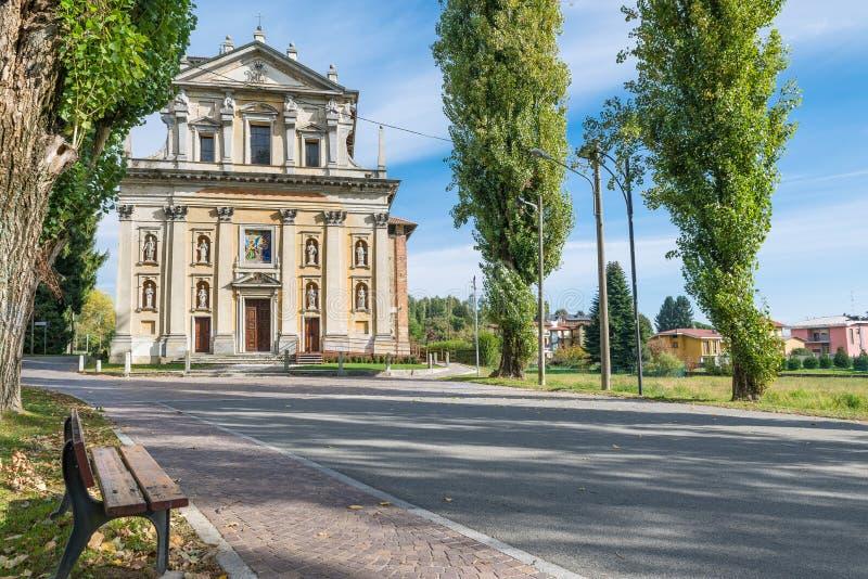 North Italy. Sanctuary Madonna della Ghianda. Sanctuary Madonna della Ghianda - Madonna of the Acorn, XVI – XVII century viale - boulevard - Madonna della royalty free stock photos