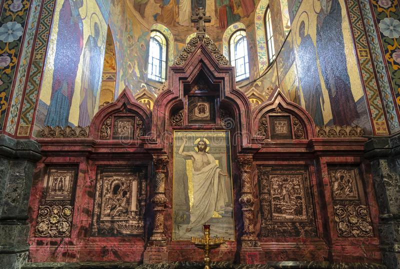 North  kiot in the church of the Savior on Blood. A place for the most revered icons. Saint-Petersburg. royalty free stock photos