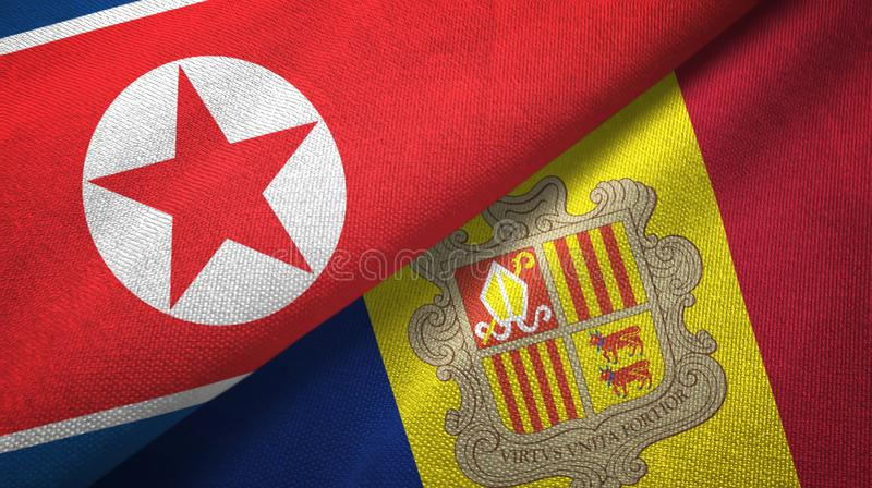 North Korea and Andorra two flags textile cloth, fabric texture. North Korea and Andorra two folded flags together stock illustration