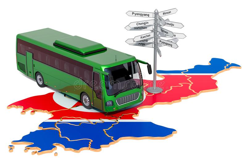 North Korea Bus Tours concept. 3D rendering. Isolated on white background stock illustration
