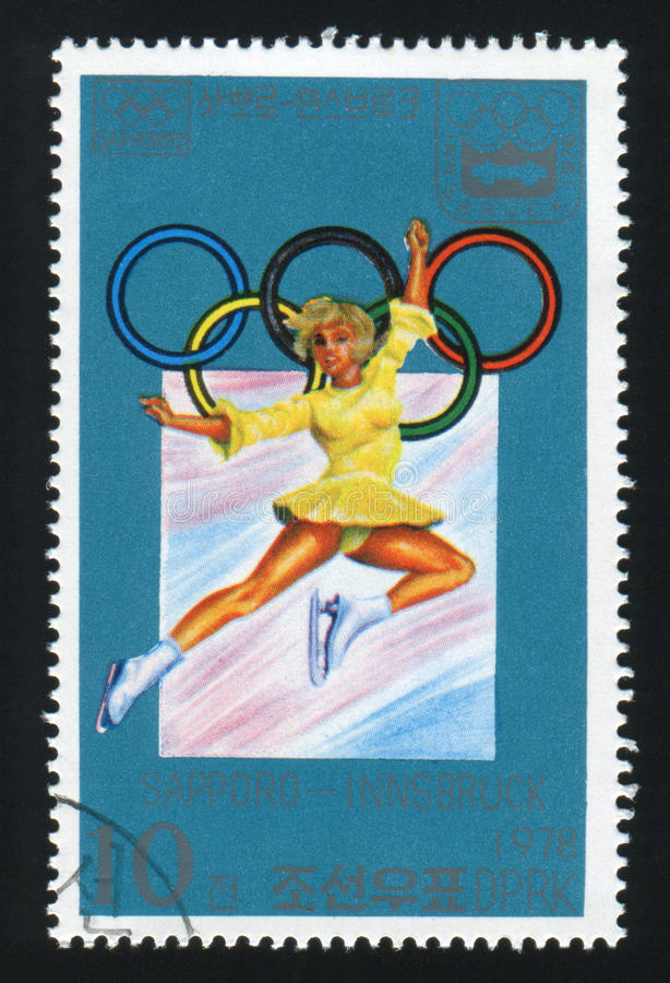 NORTH KOREA - CIRCA 1978: A post stamp printed in North Korea shows Ice Ballet, Winter Olympic Games, circa 1978. NORTH KOREA - CIRCA 1978: A post stamp printed stock photo