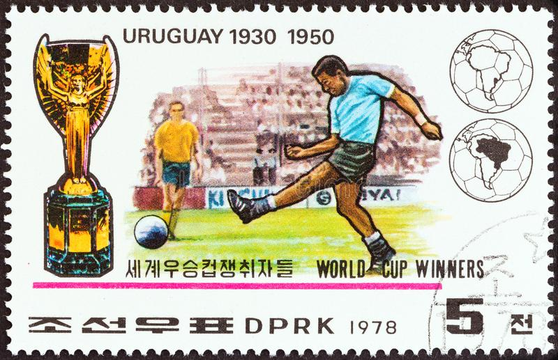 NORTH KOREA - CIRCA 1978: A stamp printed in North Korea shows Uruguay, 1930, 1950, circa 1978. NORTH KOREA - CIRCA 1978: A stamp printed in North Korea from stock image