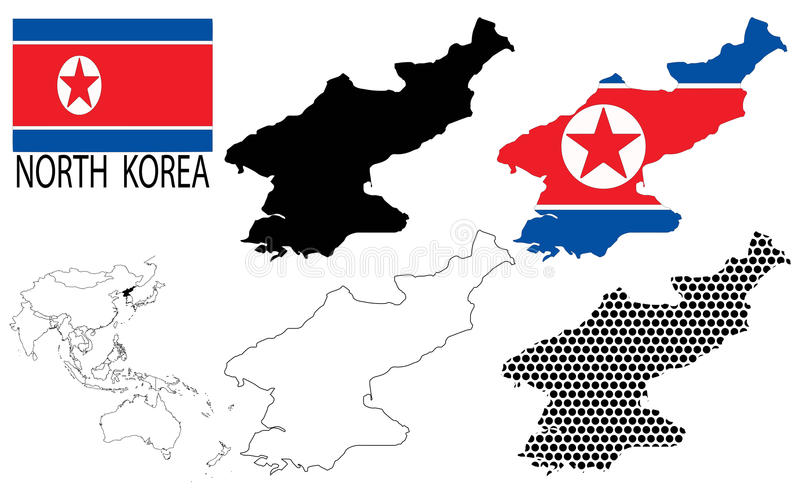 North Korea - Contour maps, National flag and Asia map vector. North Korea - Four optional contour maps, National flag and Asia map vector vector illustration