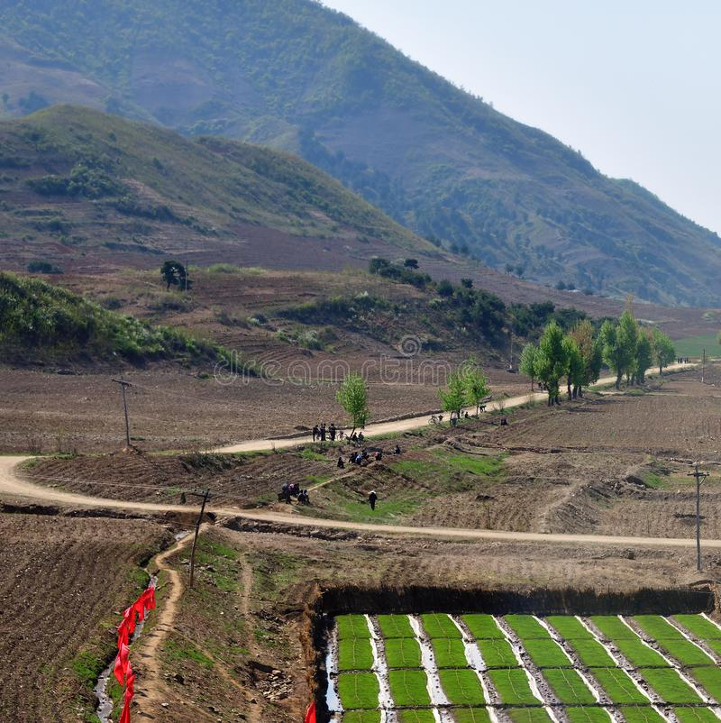 North Korea countryside landscape stock photography