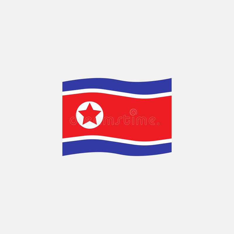 North Korea flag colors flat icon stock illustration
