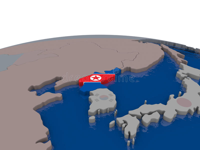 Download North Korea with flag stock illustration. Image of region - 83719700