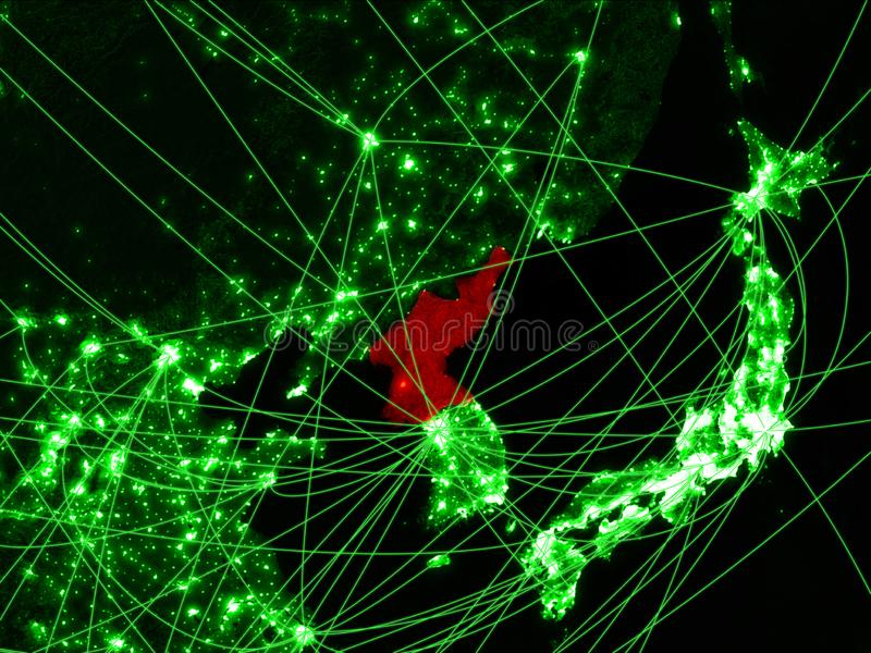 North Korea on green map. With networks. Concept of international travel, communication and technology. 3D illustration. Elements of this image furnished by royalty free illustration