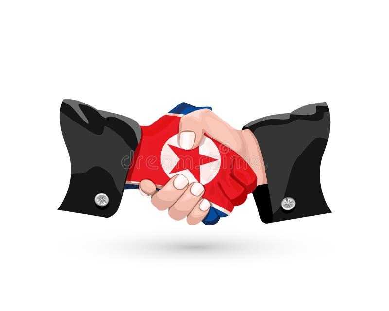 North Korea handshake vector illustration