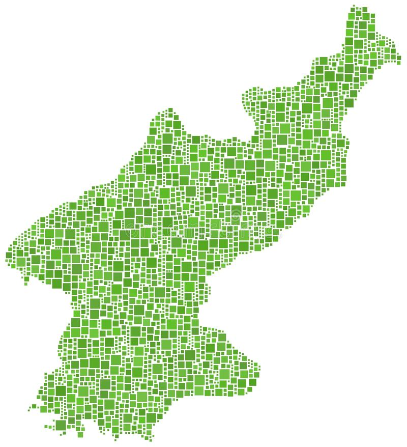 North Korea map. North Korea shaped map in green against a white background stock illustration