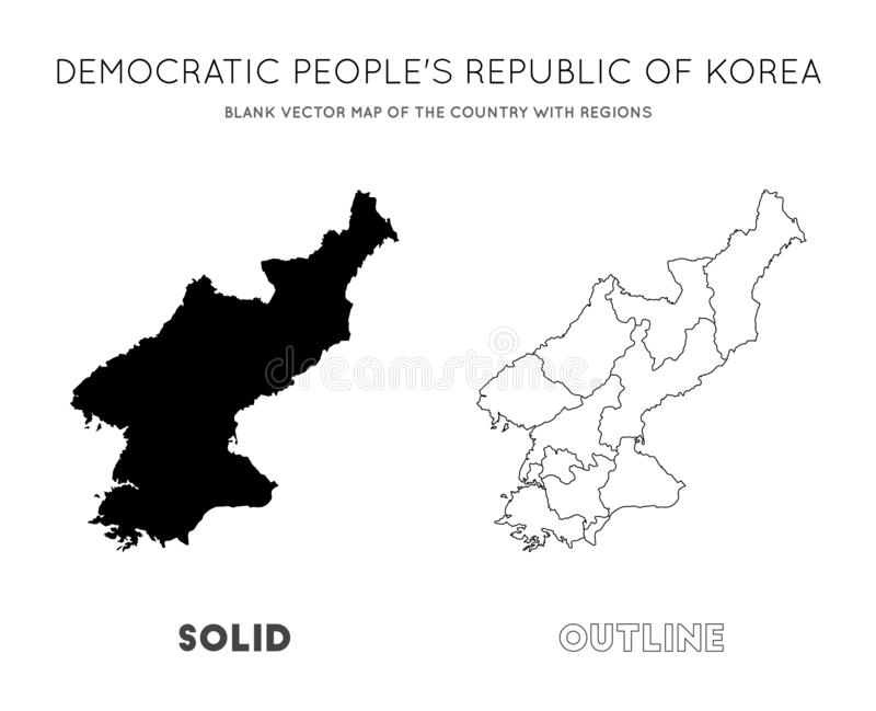 North Korea map. Blank vector map of the Country with regions. Borders of North Korea for your infographic. Vector illustration royalty free illustration