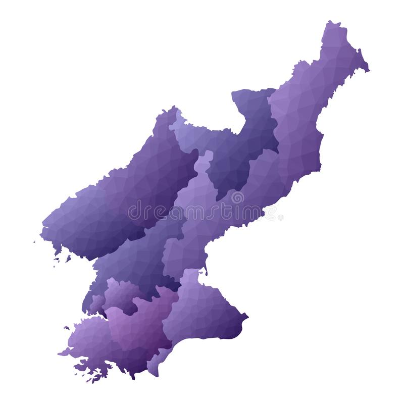 North Korea map. Geometric style country outline. Exceptional violet vector illustration stock illustration