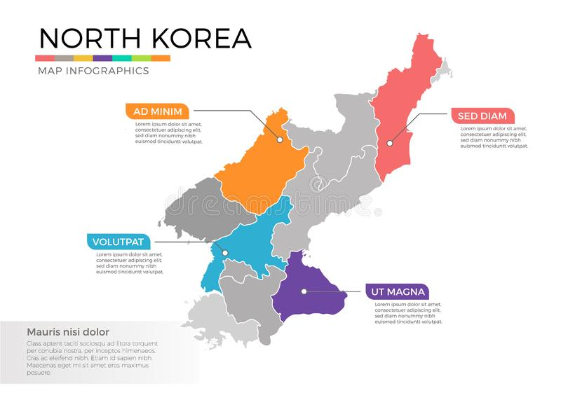 North Korea map infographics vector template with regions and pointer marks. North Korea map info-graphics vector template with regions, districts, state vector illustration