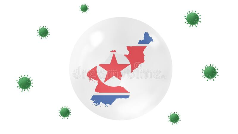 North Korea map inside crystal ball  protect from corona virus,stay at  home,work for home, overcome virus outbreak,virus. Protection concept,on white royalty free illustration