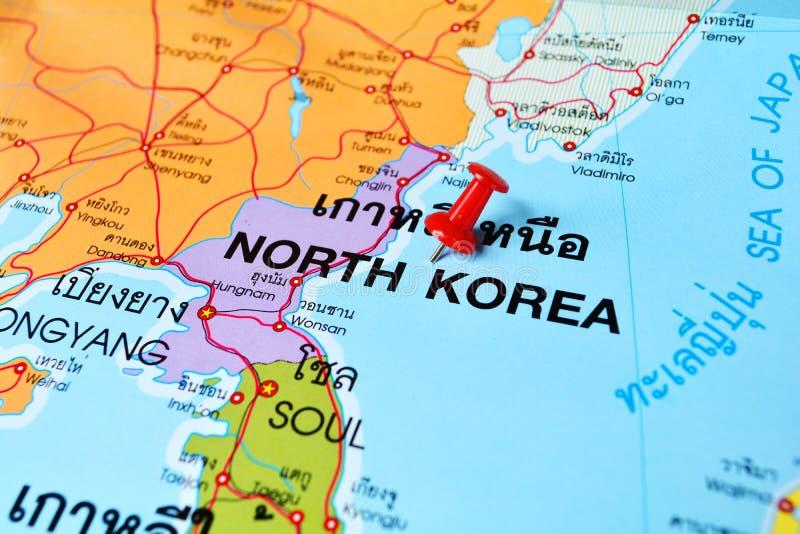 North korea map. Macro shot of north korea map with push pin royalty free stock photo