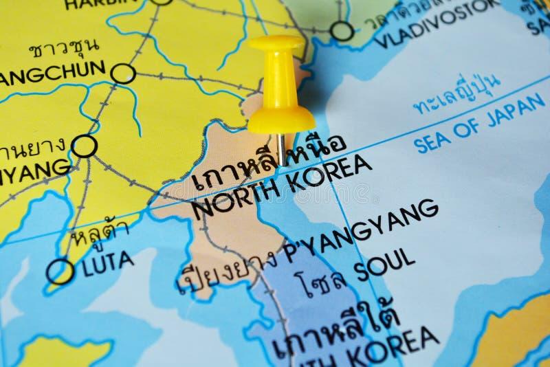 North korea map. Macro shot of north korea map with push pin stock images
