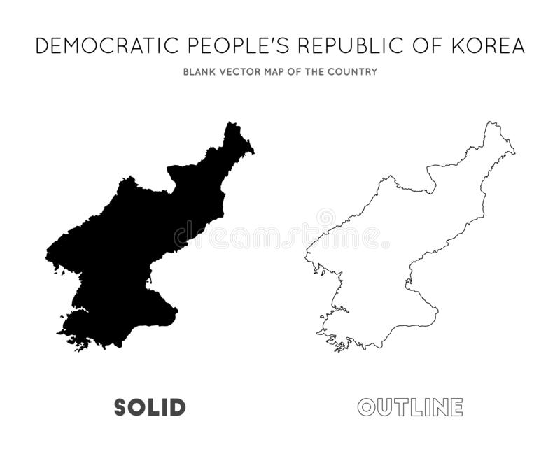 North Korea map. Blank vector map of the Country. Borders of North Korea for your infographic. Vector illustration stock illustration