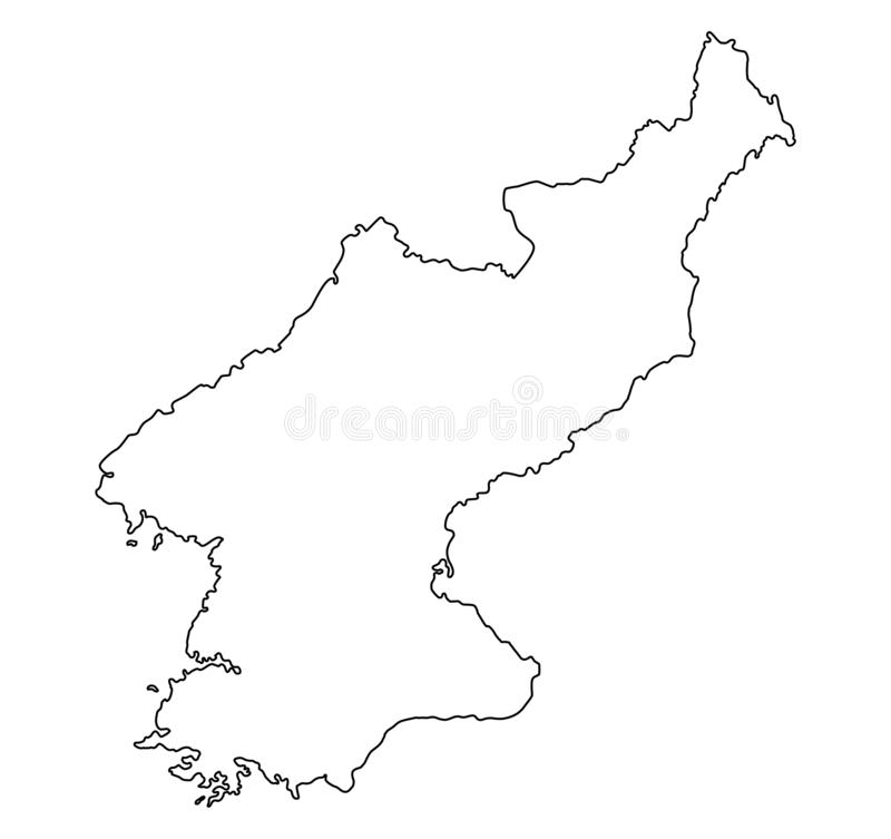 North Korea map outline vector illustration. Isolated on white background stock illustration