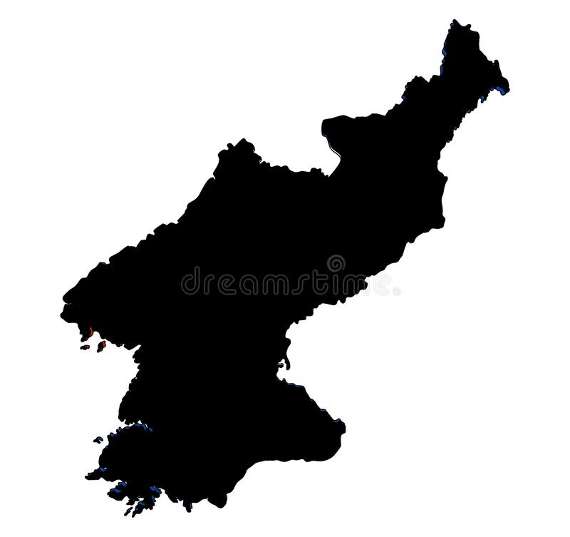 North Korea map silhouette vector illustration. Isolated on white background royalty free illustration