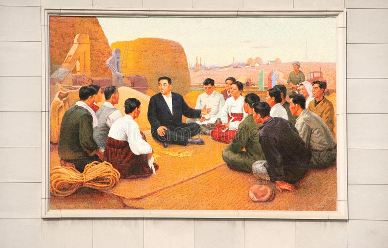 NORTH KOREA, NAMPHO - SEPTEMBER 21, 2017: mosaic with Kim Il Sun stock photos