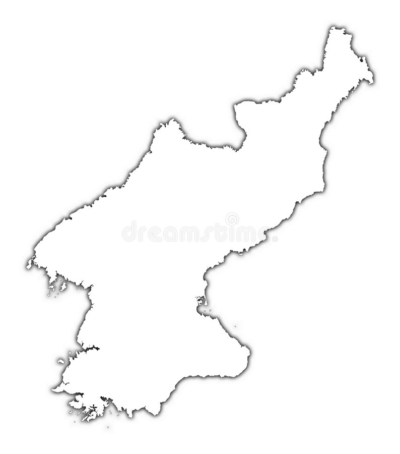 North Korea outline map. With shadow. Detailed, Mercator projection stock illustration
