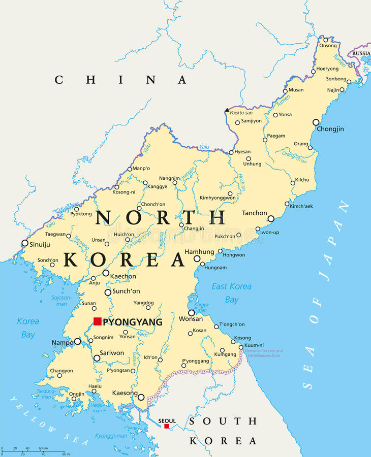 North Korea Political Map. With capital Pyongyang, national borders, important cities, rivers and lakes. English labeling and scaling. Illustration stock illustration