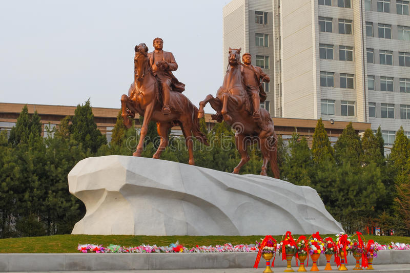 North Korea, Pyongyang, April 13, 2012 - a monument to Kim Il Sung and Kim Jong Il on horseback. royalty free stock photography