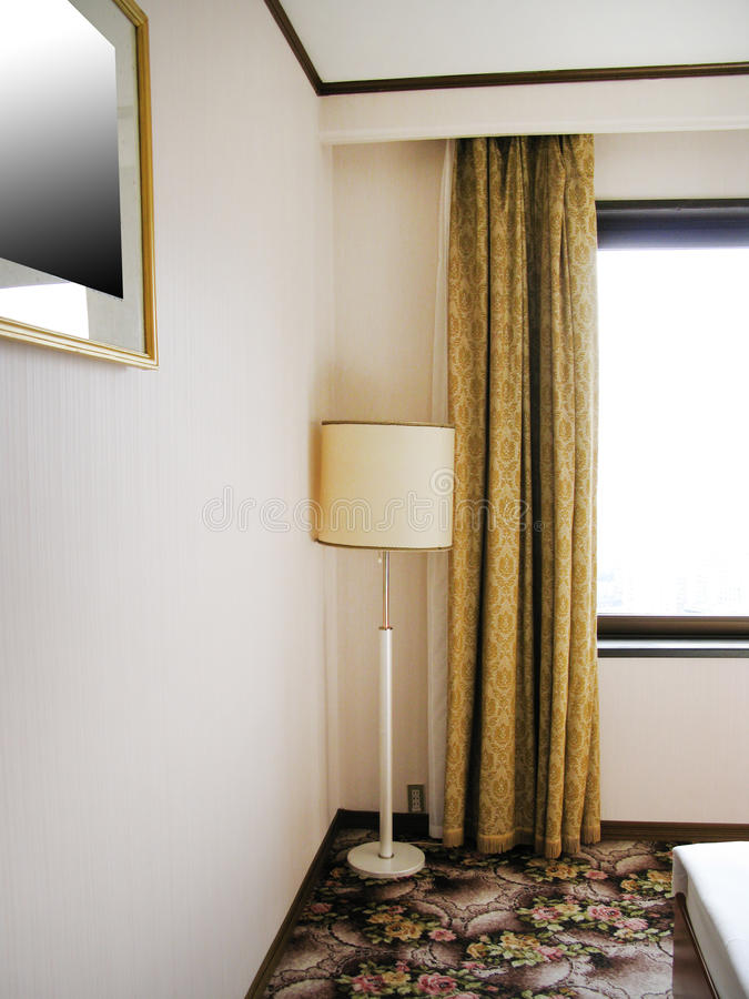 North Korea Pyongyang hotel Koryo. Hotel number with two beds , night table, lamp stock photography