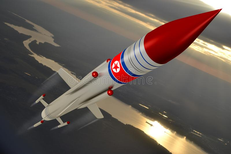 North Korea, missile. North Korea`s flying missile, sky in background stock illustration