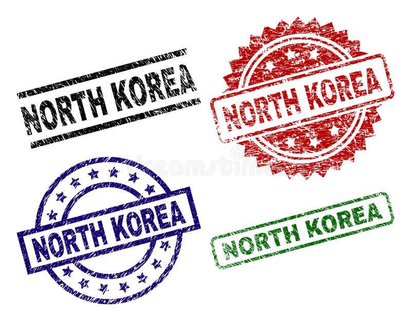 Damaged Textured NORTH KOREA Stamp Seals vector illustration