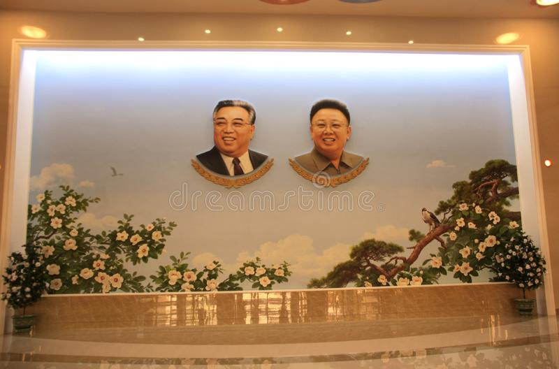 NORTH KOREA, SEPTEMBER 15, 2017: Portraits of two presidents DPRK. Kim Il Sung and Kim Jong Il in hall of Songdowon International Children`s camp stock photos