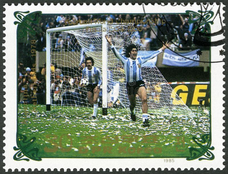 NORTH KOREA - 1985: shows Argentina vs. Netherlands, 1978, series World Cup Soccer 1970-1986. NORTH KOREA - CIRCA 1985: A stamp printed in DPR Korea shows royalty free stock image
