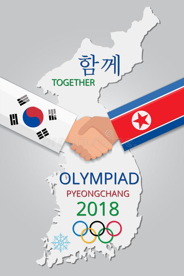 North Korea and South Korea Handshake Winter Olimeiada stock images
