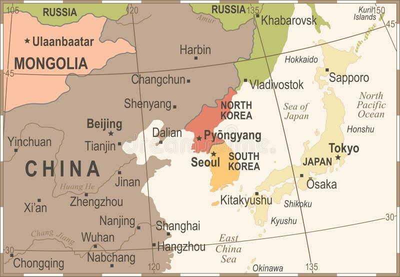 North korea south korea japan china russia mongolia map vintage download north korea south korea japan china russia mongolia map vintage vector illustration stock illustration gumiabroncs Gallery