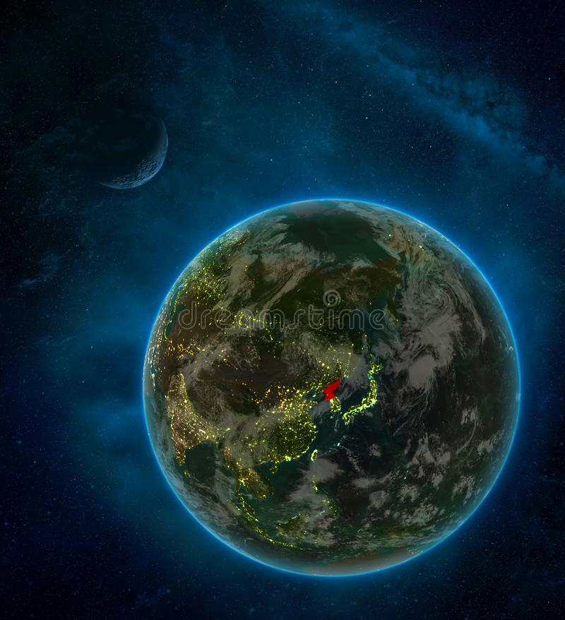 North Korea from space on Earth at night surrounded by space with Moon and Milky Way. Detailed planet with city lights and clouds. 3D illustration. Elements of royalty free illustration