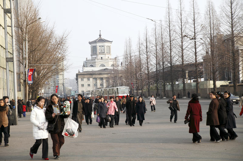 North korea streetscape stock image