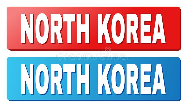 NORTH KOREA Caption on Blue and Red Rectangle Buttons. NORTH KOREA text on rounded rectangle buttons. Designed with white caption with shadow and blue and red royalty free illustration