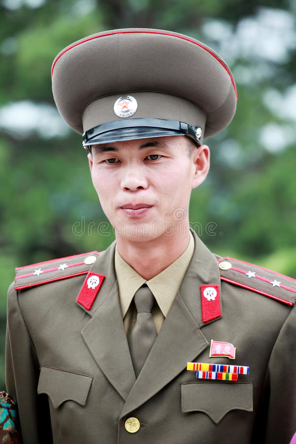 North Korean army officer. Outdoor portrait. he has been serving in panmunjom north Korea,it is a dangerous area stock images