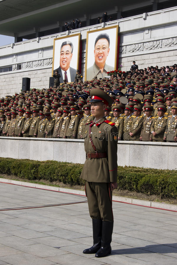 North Korean army officers at the military parade. A mass military parade in Pyongyang's Kim Il Sung Square to celebrate 100 years since the birth of North stock images