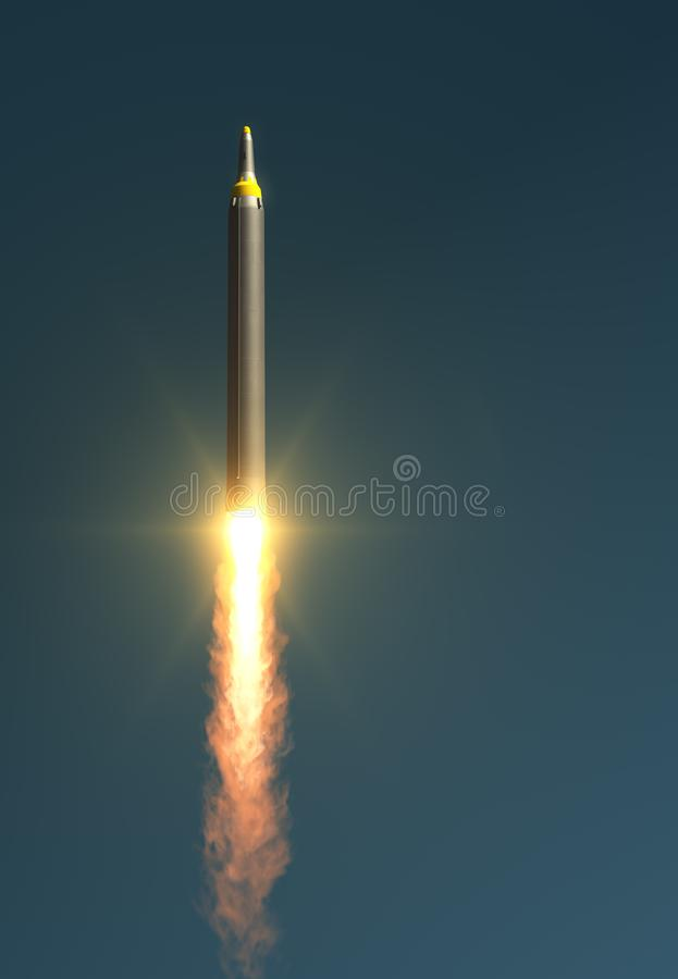 North Korean Ballistic Missile Takes Off. 3D Illustration royalty free illustration