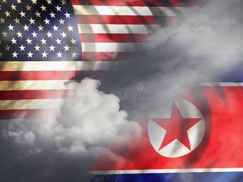 North Korean e bandeiras dos EUA ilustração do vetor