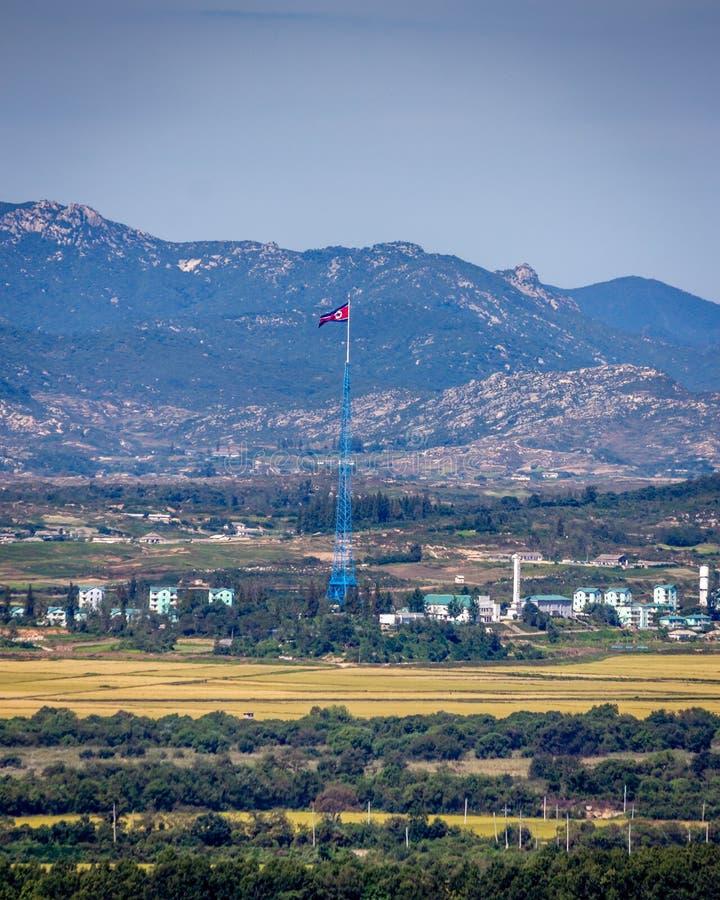 Kijong-dong North Korea. The North Korean flag flies over the village of Kijong-dong stock photos