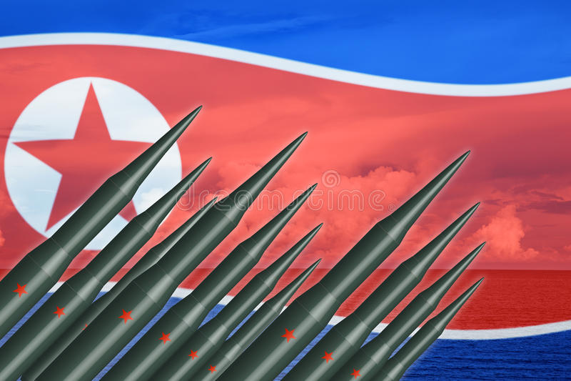 North Korean lunch ICBM missile for nuclear bomb test stock illustration