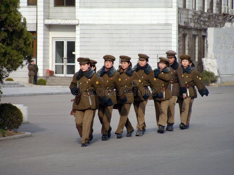 North Korean war woman squad in Pyongyan stock photo