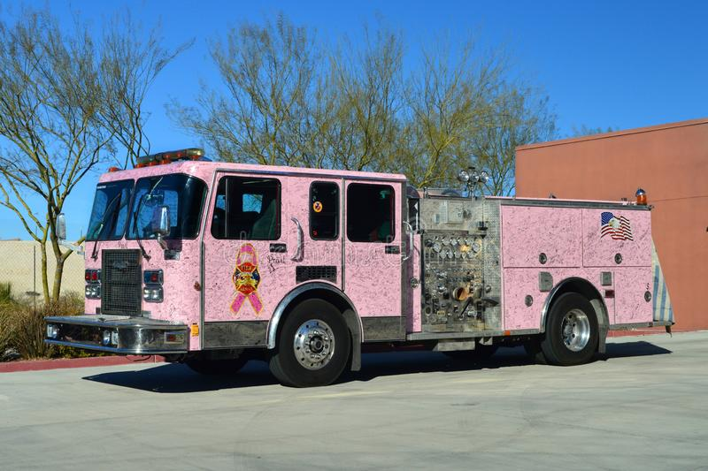 North Las Vegas Fire Department Pink Engine stock image