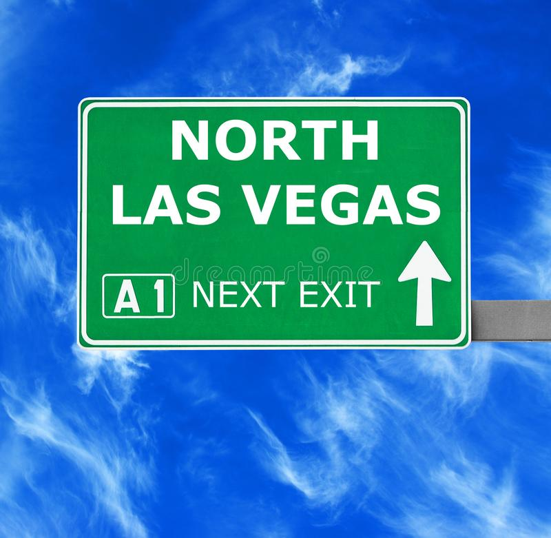 NORTH LAS VEGAS road sign against clear blue sky stock image