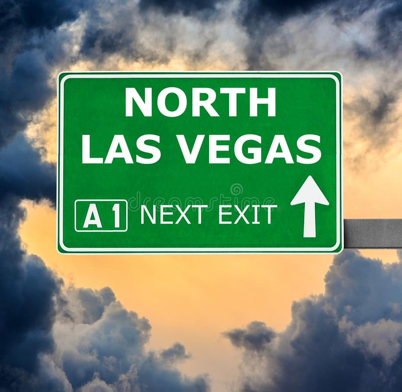 NORTH LAS VEGAS road sign against clear blue sky stock photo